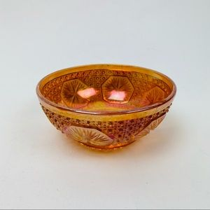 Orange pink colored glass etched small bowl